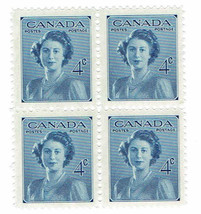 1948 Princess Elizabeth Block of 4 Canada Postage Stamps Catalog Number 276 MNH