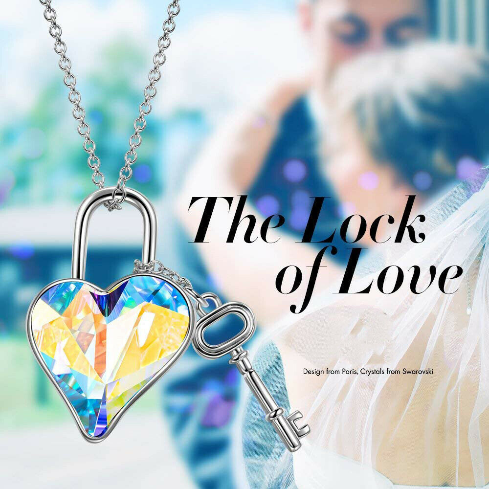 "Primary image for Heart Key Flower Made With Swarovski Crystal Multi Color Necklace 20"" Chain Gift"
