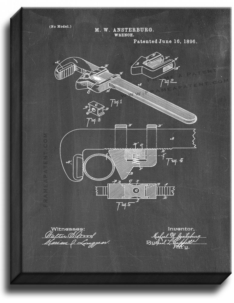Primary image for Wrench Patent Print Chalkboard on Canvas