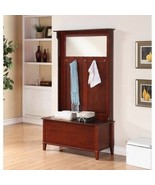 Walnut Finish Wooden Hall Tree Mirror Coat Rack Hat Hooks Storage Stand ... - $524.60