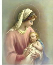 "Catholic Print Picture Blessed Virgin Mary & Divine Child Jesus 8x10"" - $14.01"