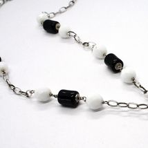 Silver 925 Necklace Black Onyx Tube, Double cross Pendant Chain, Oval image 4