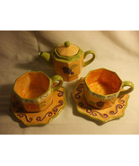 Shabby Chic Hand Painted Morris National Hand Painted Teapot Cups and Sa... - $89.09