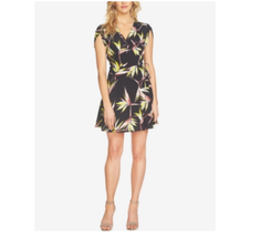 1.State Women's NEW Printed Floral V-Neck Faux-Wrap Dress Rich Black $12... - $39.59