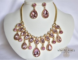 Pink Bridal Jewelry Set, Drop Necklace, Rhinestone Bridal Statement Neck... - $36.00