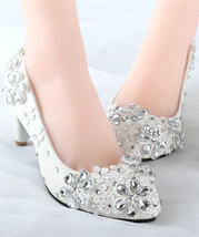 white lace low heels,mid heel wedding shoes,ivory white crystal bridal low heels - $38.00