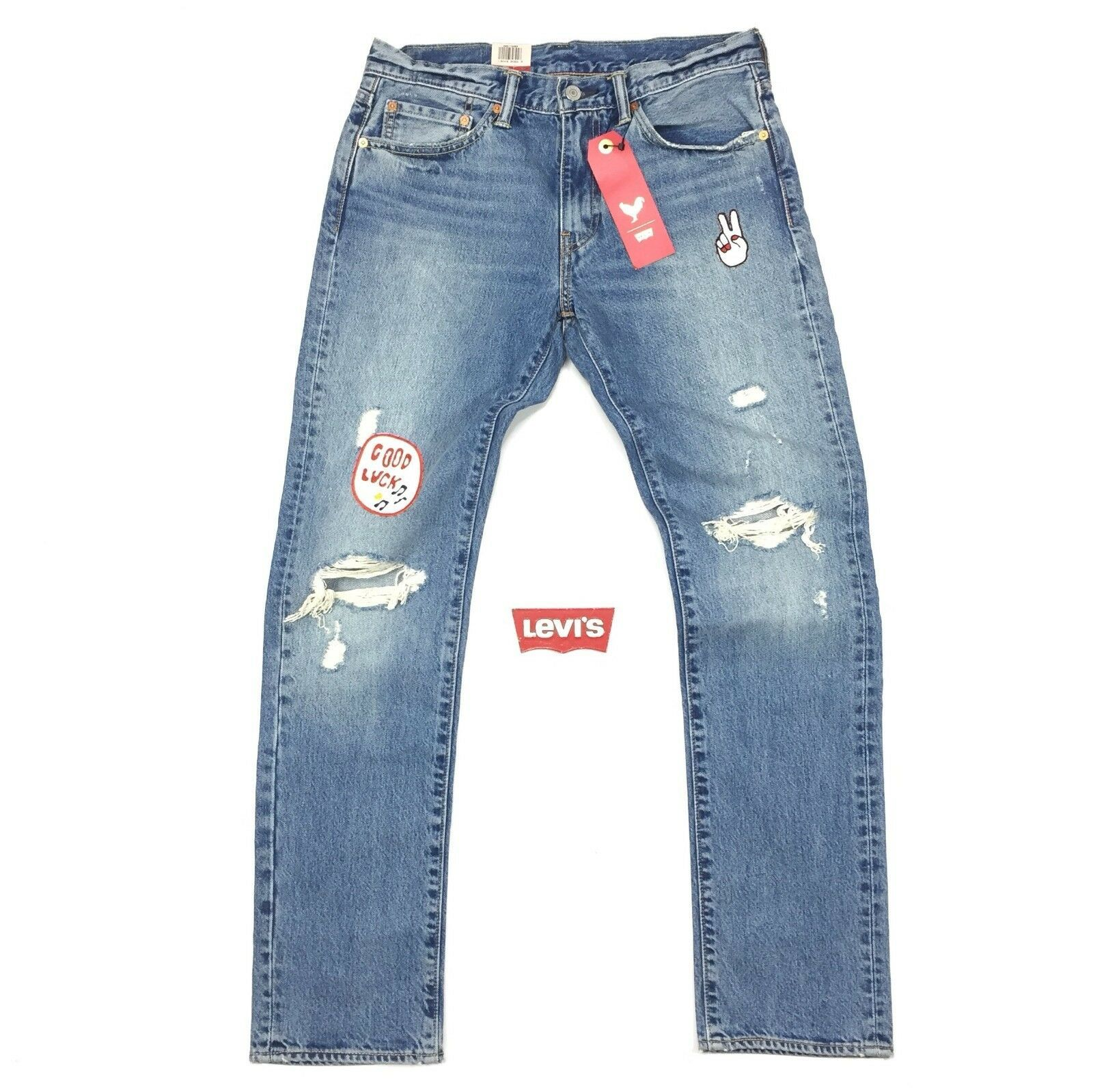 Primary image for New Levi's 511 Slim Fit Jeans ALL SIZES Broken Record Chinese New Year Patches