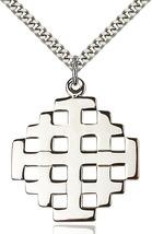 Men's Bliss Large Sterling Silver Jerusalem Cross Pendant Necklace  - $61.00