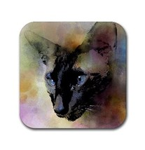 Rubber coasters set of 4, Cat 620 siamese from digital art by L.Dumas - $11.99
