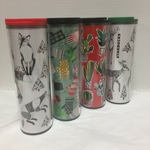 New Starbucks Holiday Acrylic Tumbler Mittens Trees Deer Fox 16 Oz You C... - $20.99