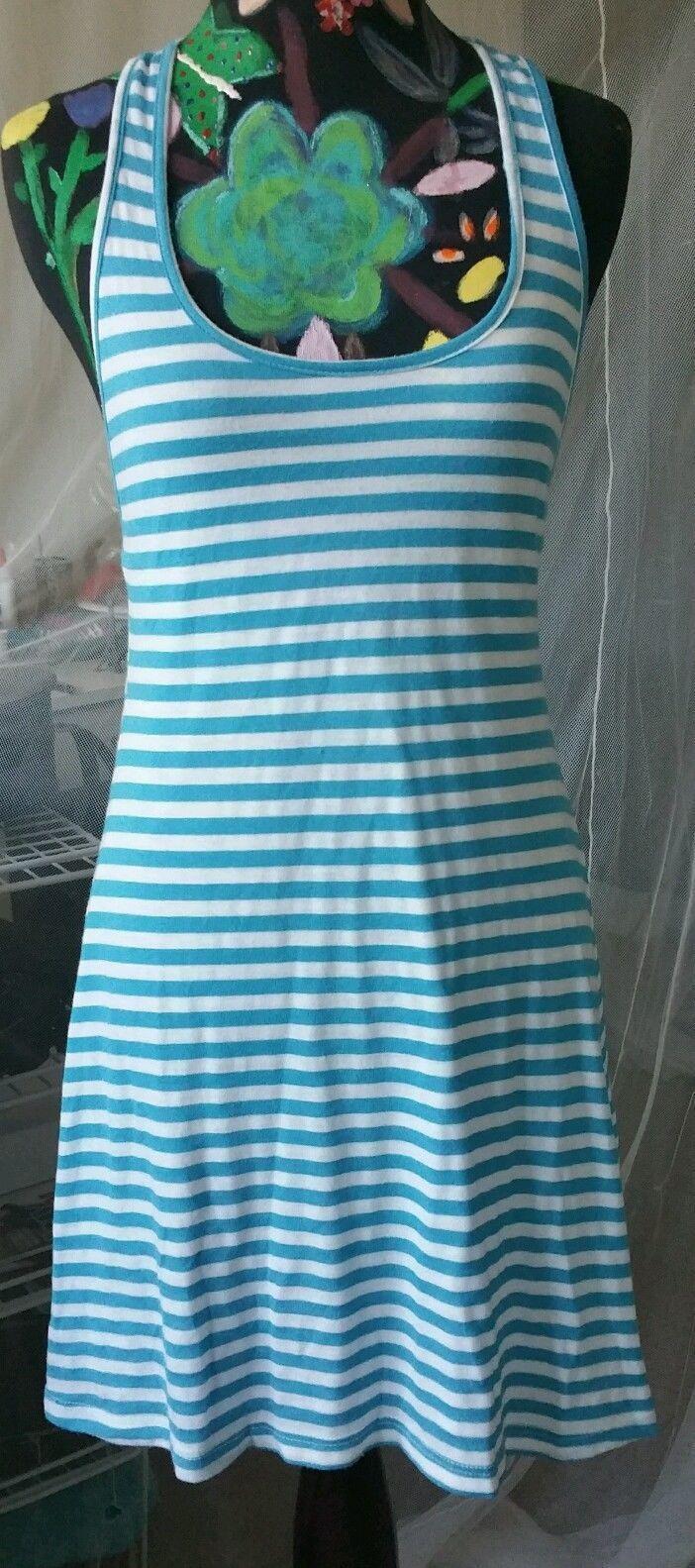 Light Blue T Back Dress Striped White Knee Length Roses Down The T New Size