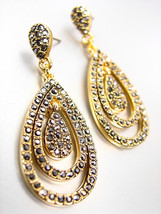 LUXURIOUS 18kt Gold Plated Marcasite Crystals Chandelier Dangle Earrings... - $29.99