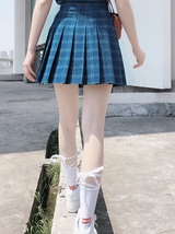 Women Girl Blue Plaid Pleated Skirt Plus Size Pleated Tennis Skirt Plus Size image 4