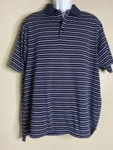Adidas Golf Men Size L White Striped Polo Climalite Short Sleeve - $15.23