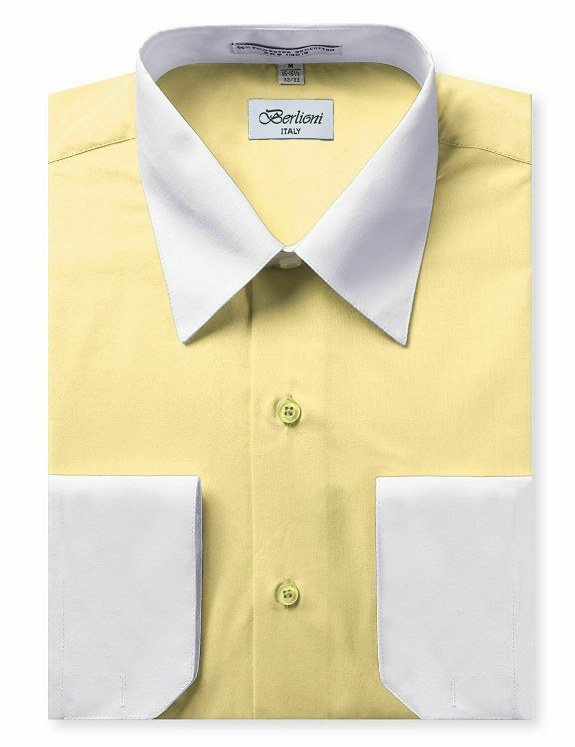 Berlioni Italy Men's Classic White Collar & Cuffs Yellow Dress Shirt w/ Defect
