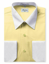 Berlioni Italy Men's Classic White Collar & Cuffs Yellow Dress Shirt w/ Defect image 1