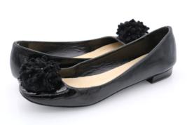 Kate Spade Womens 6B Black Leather Slip On Flower Flats Ballet - $44.99