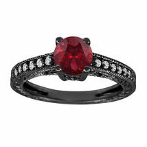 1.14 Carat Garnet Engagement Ring With Diamonds Wedding Ring 14K Black Gold - $1,019.15