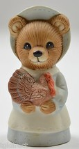 Homco Bear In Blue Dress & Bonnet Holding A Turkey Ceramic Figurine Collectible - $7.99