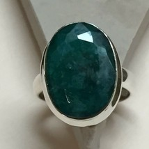Beautiful 6ct Emerald 925 Solid Sterling Silver Solitaire Ring sz 6.25 - $45.53