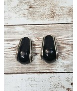 Vintage Clip On Earrings Black and Silver Tone Chunky - $10.99