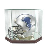 Full Size Football Helmet Glass Display Case with Octagon Wood Base - $99.99