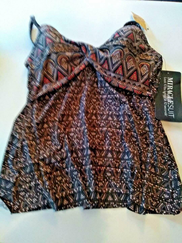 Miracle Suit Bronze Brown Myrra Swim Top Size 10
