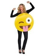 Emoticon Emoji Tongue Out Costume Yellow Adult Halloween Unique Funny DG... - ₹3,579.78 INR