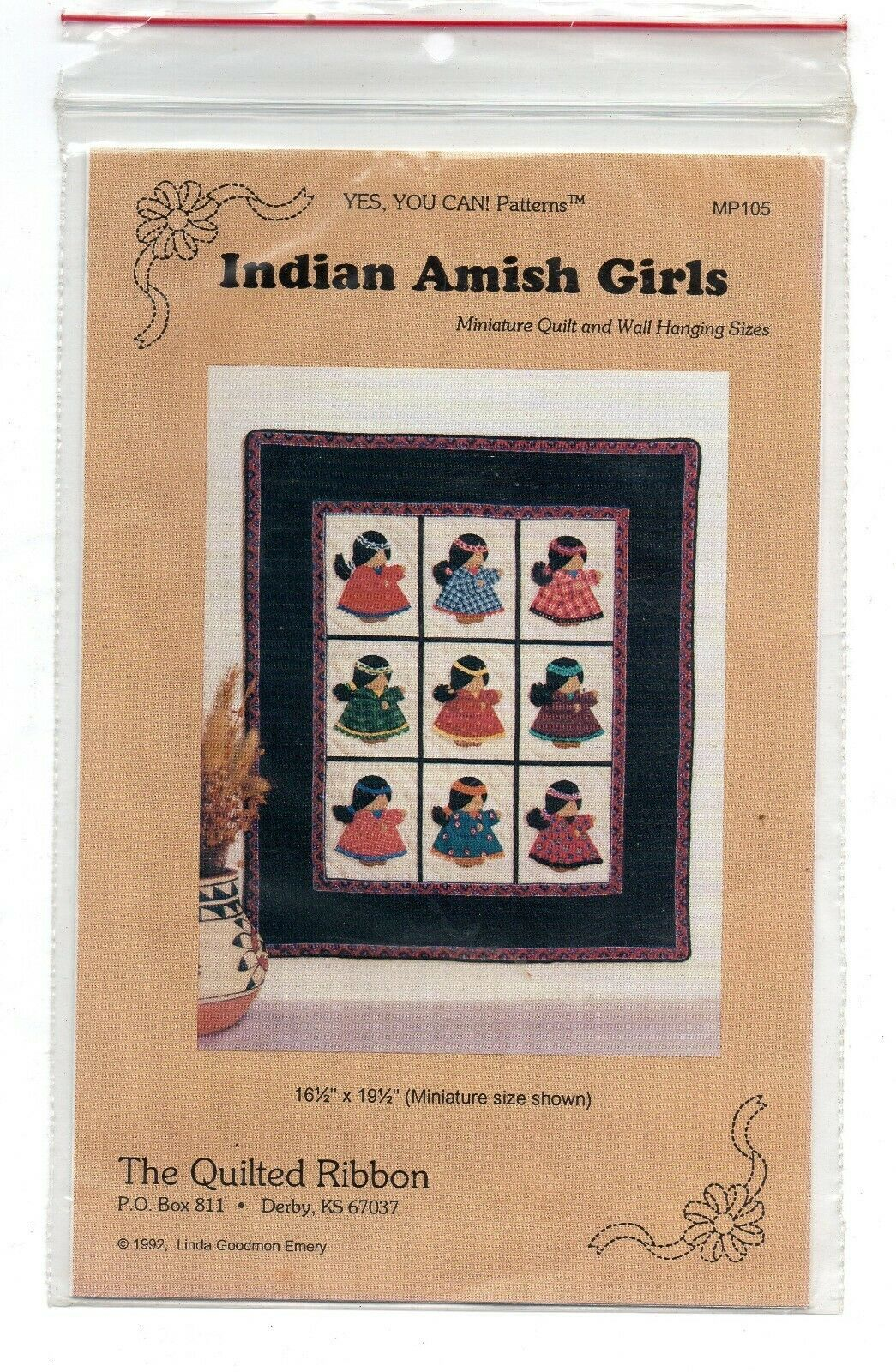 Primary image for 1992/Indian Amish Girls/UNCUT QUILT Pattern