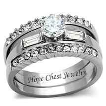 WOMEN'S SILVER STAINLESS STEEL AAA CZ ENGAGEMENT & WEDDING 3 RING SET SI... - $20.24