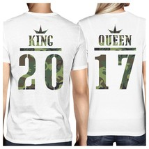 King And Queen Military Pattern Custom Matching Couple White Shirts - $38.99+