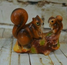 Norleans Squirrel figurine Two Squirrels On A Log  - $15.83