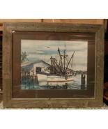 Vintage SHRIMP Boat Pen-Watercolor Fort Myers Florida Harbor W. HAROLD H... - $58.41