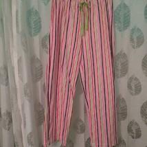 HUE Womens SZ L Pajama Pants Candy Stripes Red ... - $13.06