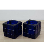 Vintage Cobalt Blue Glass Square Candle Holders Qty. 2 Rubicks Cube Styl... - $36.99