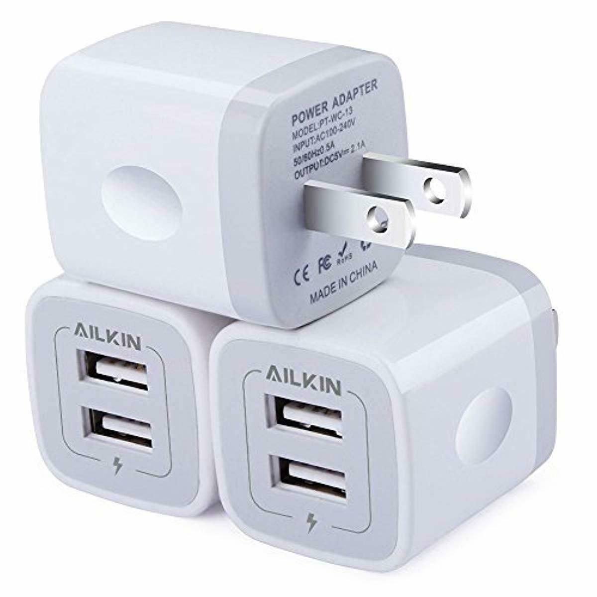 3 Pack Ailkin Wall Charger Plug Power Adapter Replacement for IPhone Samsung New