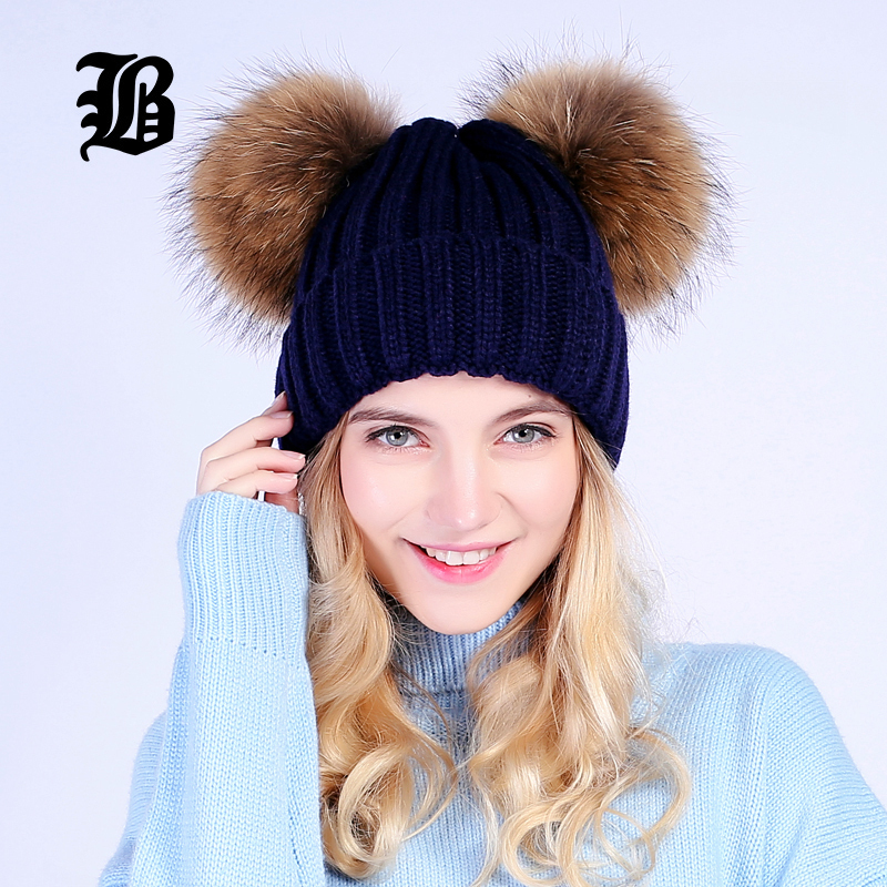 c7adec6cc8da9 Flb mink fur ball cap 2 pom poms winter hat for women girl s wool 81