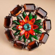 "Large 3"" Vintage flower Brooch - open back rhinestones - orange green - ... - $145.00"
