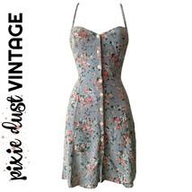 Vintage Floral Dress Mini Minidress Slip Slipdress 90s 1990s Roses Size ... - $43.63