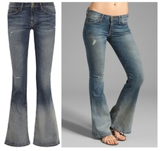Current//Elliott Blue The Low Bell mid-rise flared jean in Homestead Destroy