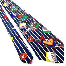 """LOONEY TUNES MANIA Men's Neck Tie 53.5"""" x 4"""" Black w/ White Stripes Base... - $13.57"""