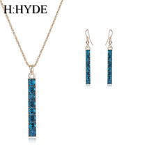 H:HYDE Gold Color Chain Necklace 7 Colors Austria Crystals Drop Earrings... - $8.92