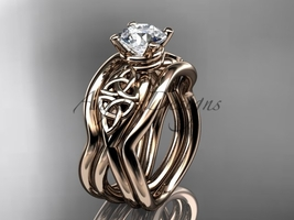 Unique engagement ring set, 14kt rose celtic trinity knot engagement ring, doubl - $1,335.00