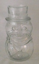 Snowman Glass Hat Lid Canada Clear Shaped Canister Winter Christmas Cont... - $16.82