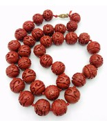 "Vintage Estate Carved Red Cinnabar Lacquer Hand Knotted Bead Necklace 26"" - $118.80"