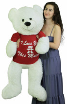 Giant Teddy Bear 52 Inch White Soft, Wears Removable Tshirt I Love You This Much - $224.31