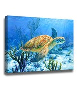 Bathroom Decor Sea Turtle Pictures Painting Wall Art Beach Decor Canvas ... - $15.21
