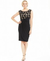 Connected Women's Black Sequined Lace Cap Sleeve Faux Wrap Dress Size 8 $79 - $39.59
