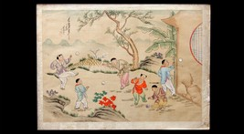 Vintage Signed Chinese Hand Painting on Cloth, Children Playing Ball, 41... - $130.98