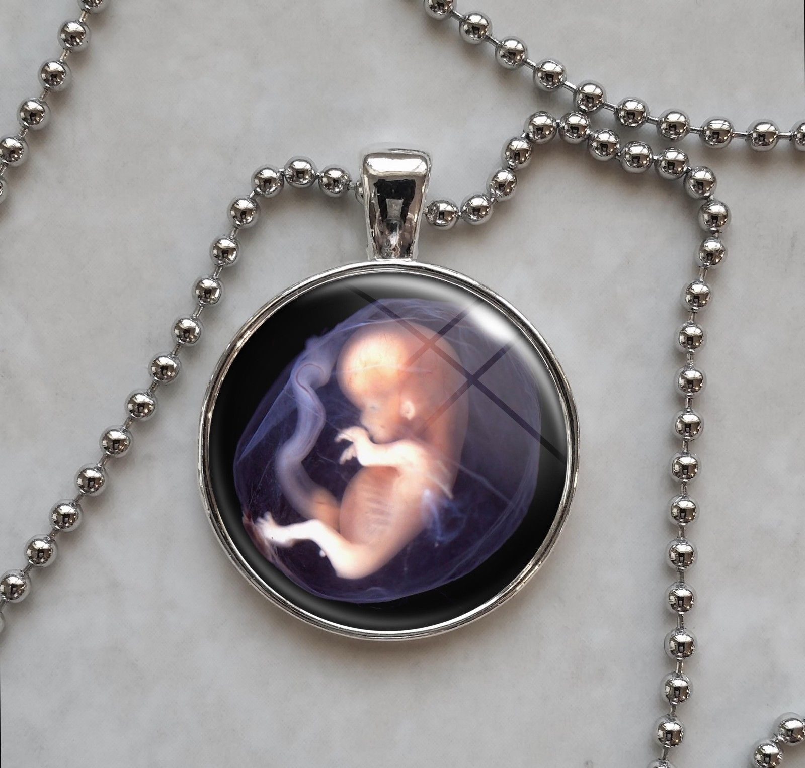 Primary image for Human Fetus in the Womb midwife Pendant Necklace